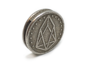 Cryptocurrency Coin Pendant - EOS  in Polished Bronzed-Silver Steel