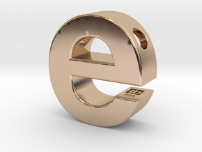 Typeberlin E Pendant in 14k Rose Gold Plated Brass