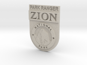 Zion Park Ranger Badge in Natural Sandstone: Small