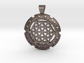 XL Flower Of Life-Fleur de vie in Polished Bronzed-Silver Steel