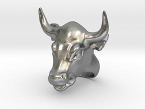 Bull ring in Natural Silver