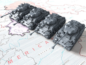 1/300 US M50 Super Sherman Tanks x4 in Smooth Fine Detail Plastic