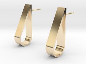 Water Droplet  Stud Earrings Set in 14k Gold Plated Brass