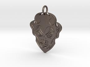 Blue Devil Head Pendant in Polished Bronzed-Silver Steel