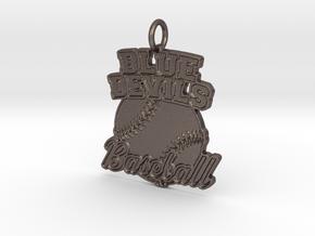 Blue Devils Baseball Pendant in Polished Bronzed-Silver Steel