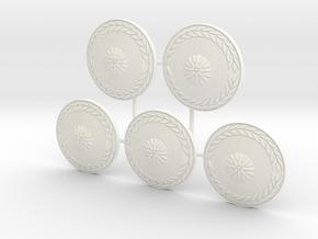 MACEDONIAN CAVALRY SHIELD 4 X5  in White Processed Versatile Plastic
