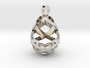 Egg openwork [pendant] in Rhodium Plated Brass