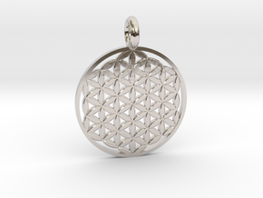 Flower of Life Sacred Geometry pendant approx 22mm in Rhodium Plated Brass: Small