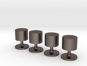 Set of 4 Cylinder Shirt Studs in Polished Bronzed-Silver Steel