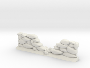 Crumbled Stone Wall (28mm Scale Miniature) in White Natural Versatile Plastic