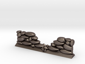 Crumbled Stone Wall (28mm Scale Miniature) in Polished Bronzed-Silver Steel