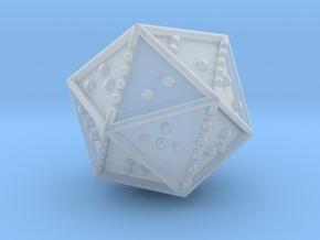 Braille Twenty-sided Die d20 in Smooth Fine Detail Plastic