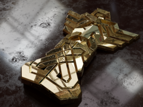 Amulet of Digital Mastery in Polished Brass