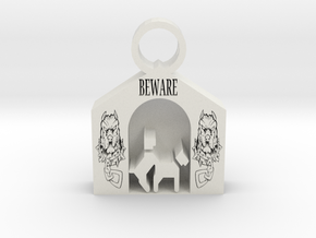 Beware of Dog pendant in White Premium Versatile Plastic