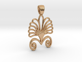 Art deco flower palm [pendant] in Polished Bronze