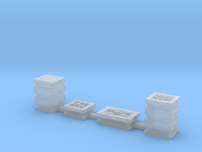 Produce Bins, 4 Fruit and Produce Crates HO Scale in Smooth Fine Detail Plastic