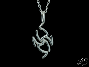 Oriental Lightning Pendant in Polished Silver