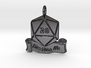 Dice Hate Me D20 - Steel in Polished and Bronzed Black Steel