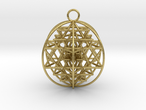 3D Sri Yantra 6 Sided Optimal in Natural Brass
