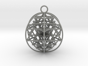 "3D Sri Yantra 6 Sided Optimal 2"" Pendant in Gray PA12"