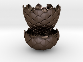Dragon Egg Game of Thrones Style - Ring Box in Polished Bronze Steel