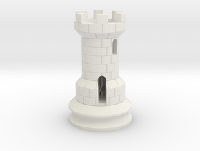 Rook Chess Piece  in White Natural Versatile Plastic