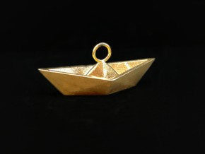 Paper Boat Necklace/Pendant I in Natural Bronze: Large