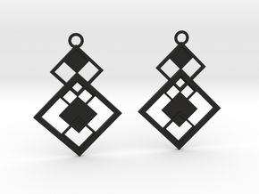 Geometrical earrings no.7 in Black Natural Versatile Plastic: Small