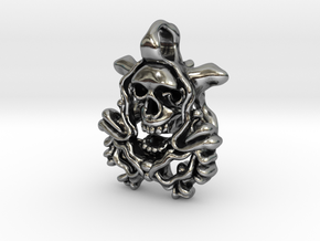 A double sided Skull Orchid Pendant. in Antique Silver