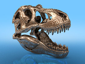 T. rex - metallic dinosaur skull in Natural Bronze: 1:20