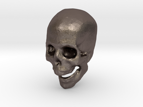skull hollowed in Polished Bronzed-Silver Steel