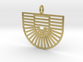 New Greek Flag & Sunbeams Pendant in Natural Brass