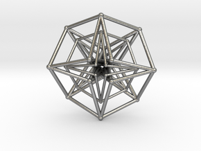 Double Hypercube pendant 30mm in Natural Silver