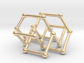 Knot 8_19 in BCC lattice in 14k Gold Plated Brass: Small