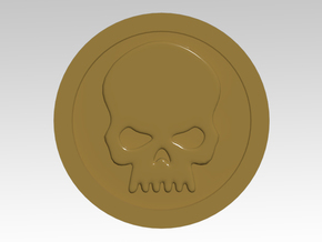 Skull 1 with Round Vehicle Icons in Smooth Fine Detail Plastic