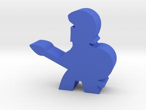 Game Piece, Greek Soldier, Spear in Blue Processed Versatile Plastic