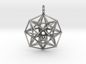 Metatron's Compass 35mm - 4D Vector Equilibrium in Natural Silver