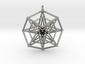 Double Hypercube pendant with ring in Natural Silver