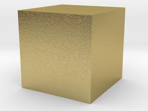 3D printed Sample Model Cube 1.95cm in Natural Brass