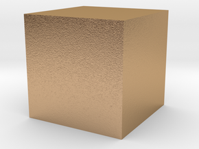 3D printed Sample Model Cube 1cm in Natural Bronze