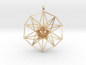5dhypercube-42mm-1 in 14k Gold Plated Brass: Medium