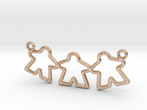 Meeple gamers pendant (Triple) in 14k Rose Gold Plated Brass