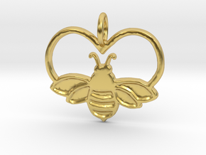 Bee pendant bumblebee necklace heart in Polished Brass