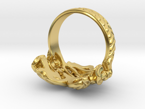 Heart on Fire Ring. in Polished Brass: 7 / 54