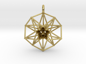 5dhypercube-42mm-1 in Natural Brass: Small