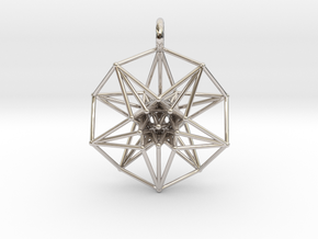 5d hypercube toroidal projection -37mm  in Rhodium Plated Brass: Small