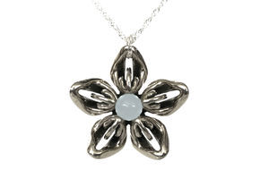 White Moonstone Transgender Flower Necklace in Polished Bronzed-Silver Steel