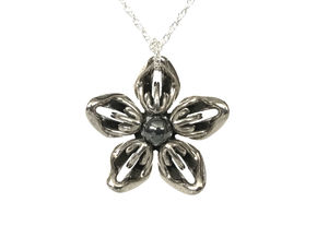 Hematite Transgender Flower Necklace in Polished Bronzed-Silver Steel