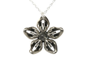 Quartz Transgender Flower Necklace in Polished Bronzed-Silver Steel