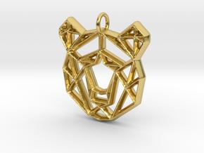 Geometirc Bear Shaped Pendant in Polished Brass